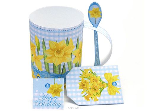 3D Mug & Latte Spoon Set - March Birth Flower & Gem Printables