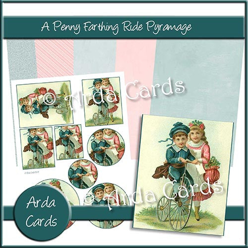 A Penny Farthing Ride Pyramage Set - The Printable Craft Shop