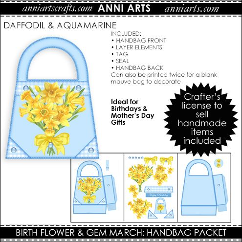 Handbag Gift Packet - March Birth Flower & Gem Printables