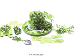 3D Teacup, Saucer and Spoon - May Birth Flower & Gem Printables