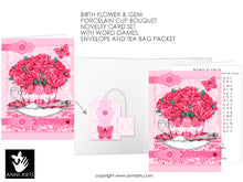 Load image into Gallery viewer, printable quick cards with carnation and garnet for January birth flowers or all occasion