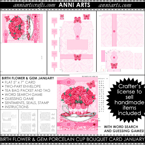 printable quick cards with carnation and garnet for January birth flowers or all occasion