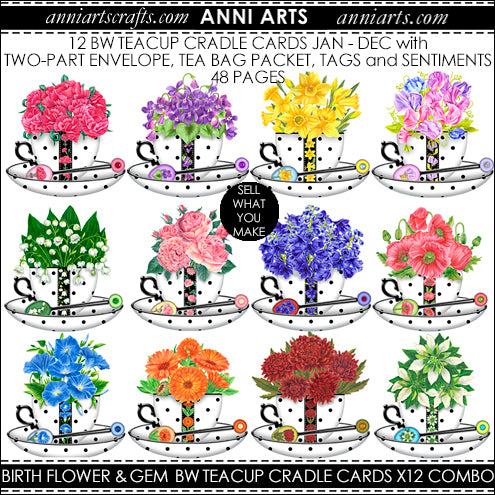 birth flower printables bundle of teacup cradle cards