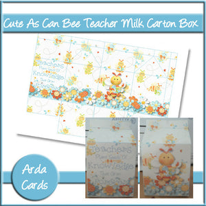 Cute As Can Bee Teacher Milk Carton Box - The Printable Craft Shop