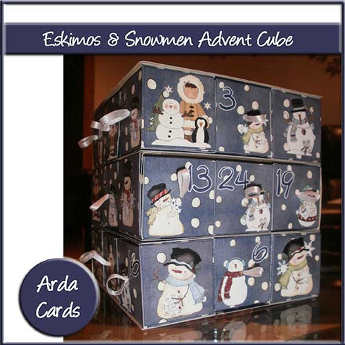 Eskimos & Snowmen Advent Cube - The Printable Craft Shop