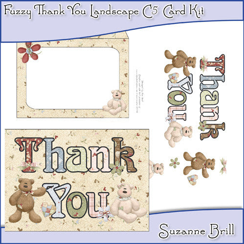 Fuzzy Thank You Landscape C5 Card Kit - The Printable Craft Shop