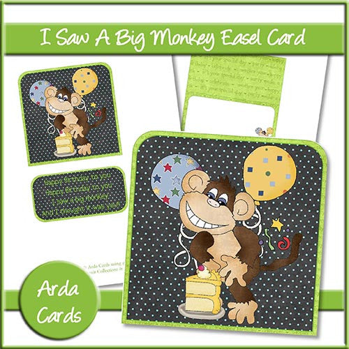 I Saw A Big Monkey Easel Card - The Printable Craft Shop