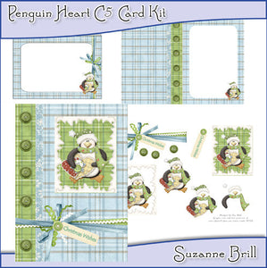 Penguin Heart C5 Card Kit - The Printable Craft Shop