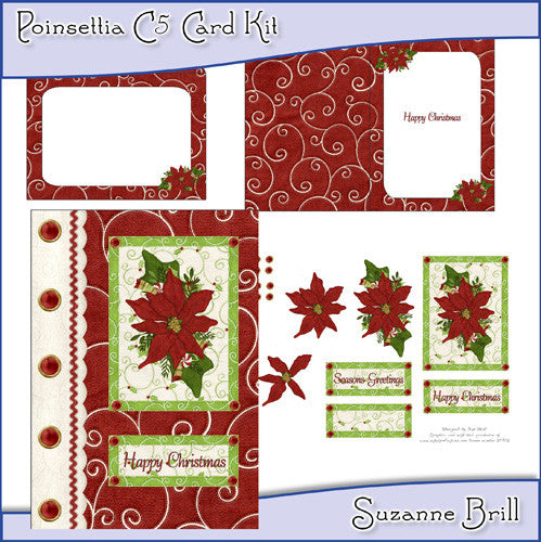 Poinsettia C5 Card Kit - The Printable Craft Shop