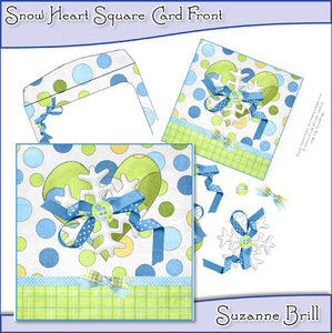 Snow Heart Square Card Front - The Printable Craft Shop