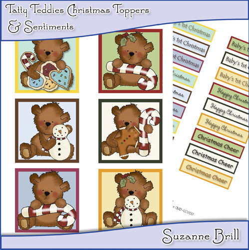 Tatty Teddy Christmas Toppers And Sentiments - The Printable Craft Shop
