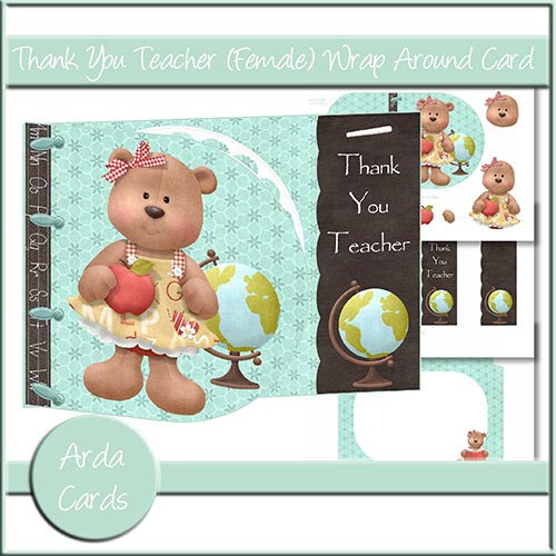 Thank You Teacher (Female) Wrap Around Card - The Printable Craft Shop