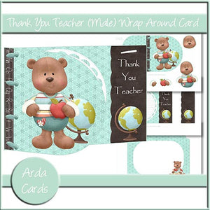 Thank You Teacher (Male) Wrap Around Card - The Printable Craft Shop
