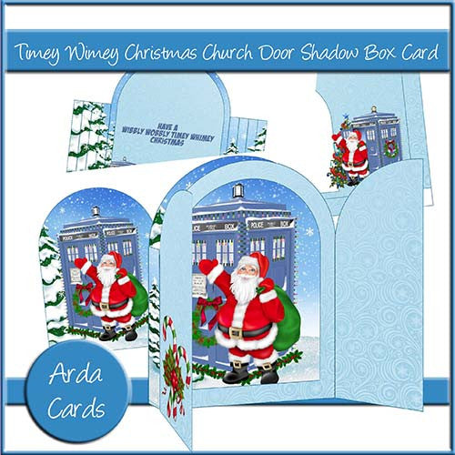Timey Wimey Christmas Church Door Shadow Box Card - The Printable Craft Shop