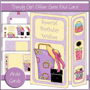 Trendy Girl Offset Gate Fold Card - The Printable Craft Shop