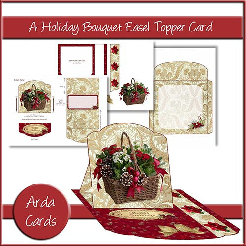 A Holiday Bouquet Easel Topper Card - The Printable Craft Shop