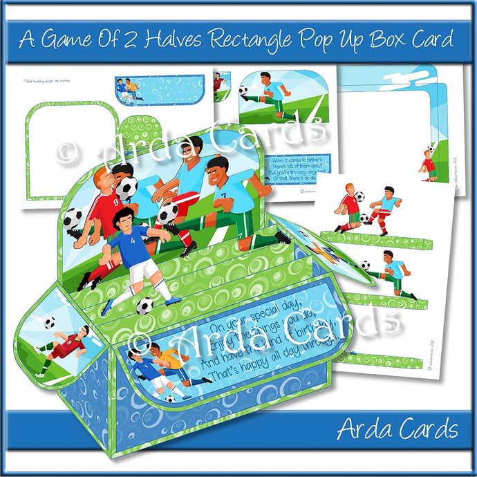 A Game Of Two Halves Rectangle Pop Up Box Card Printable