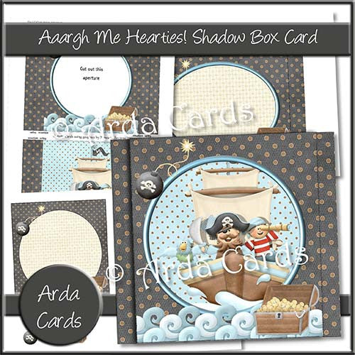 Aaargh Me Hearties Shadow Box Card - The Printable Craft Shop