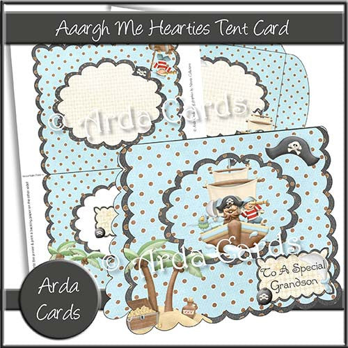 Aaargh Me Hearties Tent Card - The Printable Craft Shop