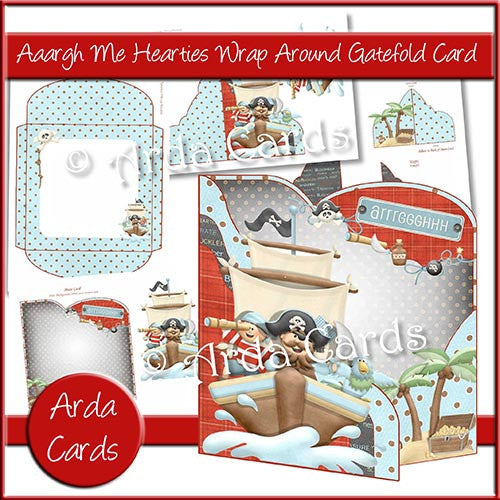Aaargh Me Hearties Wrap Around Gatefold Card - The Printable Craft Shop