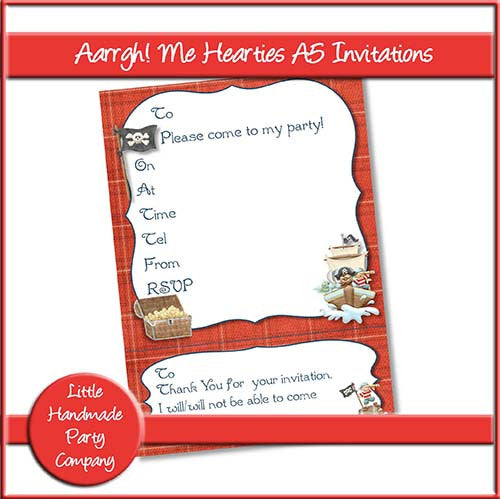 Aarrgh! Me Hearties A5 Invitations - The Printable Craft Shop