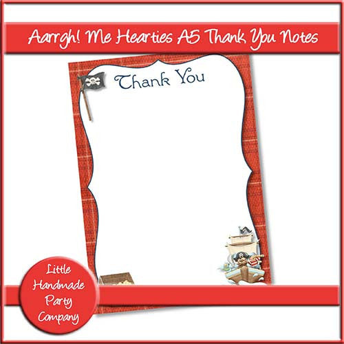 Aarrgh! Me Hearties A5 Thank You Notes - The Printable Craft Shop