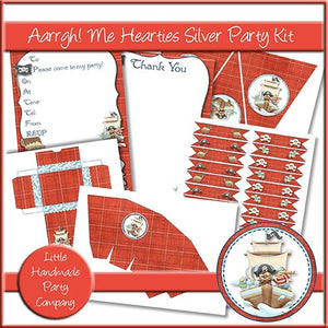 Aarrgh! Me Hearties Silver Party Kit - The Printable Craft Shop