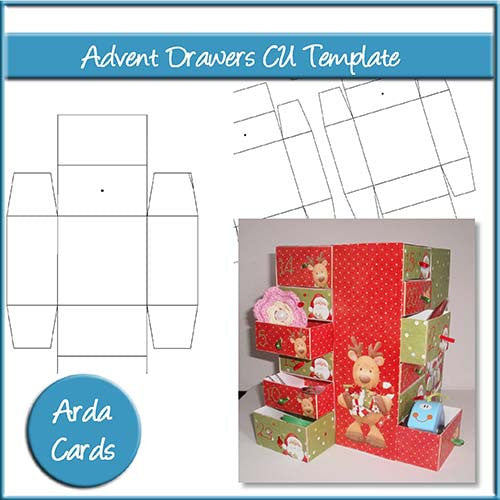 Advent Calendar Drawers CU Template - The Printable Craft Shop