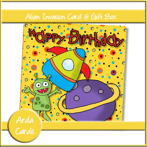 Alien Invasion Birthday Card & Gift Box - The Printable Craft Shop