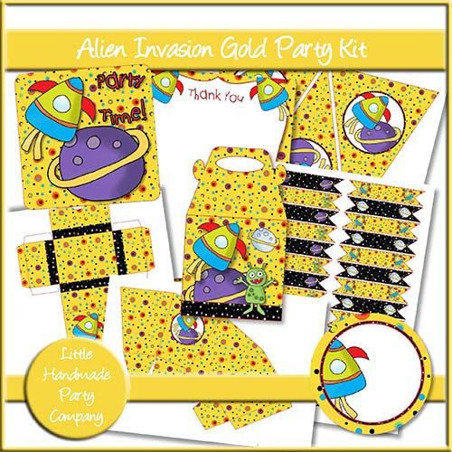 Alien Invasion Gold Party Set - The Printable Craft Shop