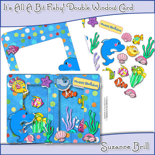 It's All A Bit Fishy! Double Window Card - The Printable Craft Shop