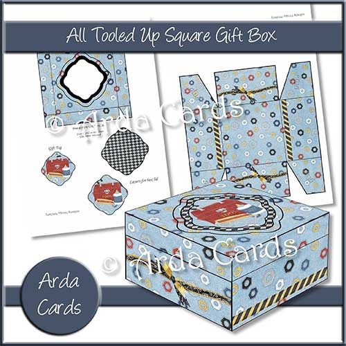 All Tooled Up Printable Square Gift Box - The Printable Craft Shop