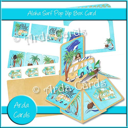 Aloha Surf Pop Up Box Card