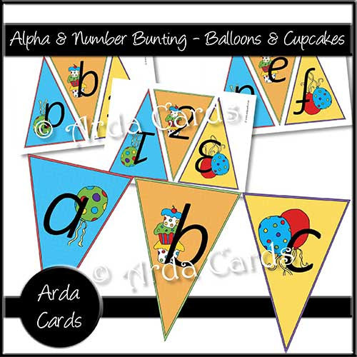 Alpha & Number Bunting - Balloons & Cupcakes - The Printable Craft Shop