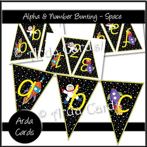 Alpha & Number Bunting - Space - The Printable Craft Shop