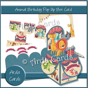 Animal Birthday Pop Up Box Card - The Printable Craft Shop