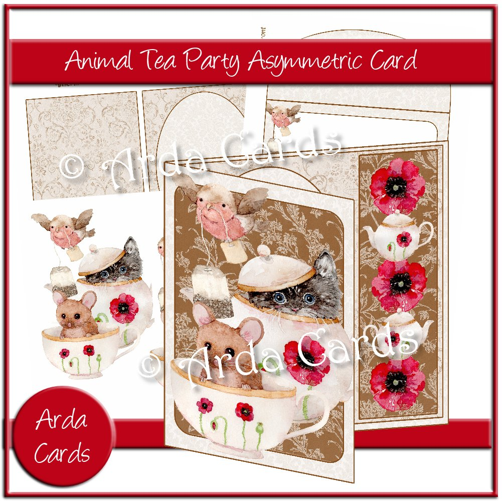 Animal Tea Party Asymmetric Card