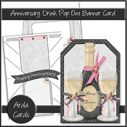Anniversary Drink Pop Out Banner Card - The Printable Craft Shop