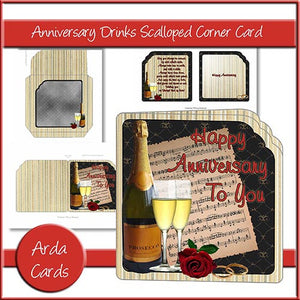 Anniversary Drinks Scalloped Corner Card - The Printable Craft Shop