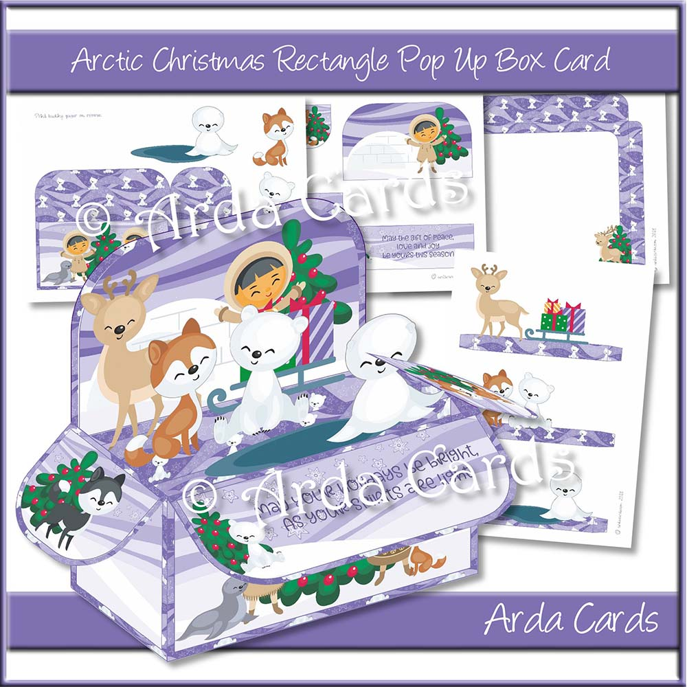 Arctic Christmas Rectangle Pop Up Box Card Printable