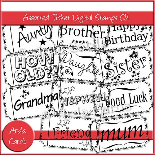 Assorted Ticket Digital Stamps Commercial Use OK - The Printable Craft Shop
