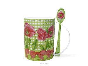August Birth Flower Printable 3D Gift Mug with Poppy & Peridot