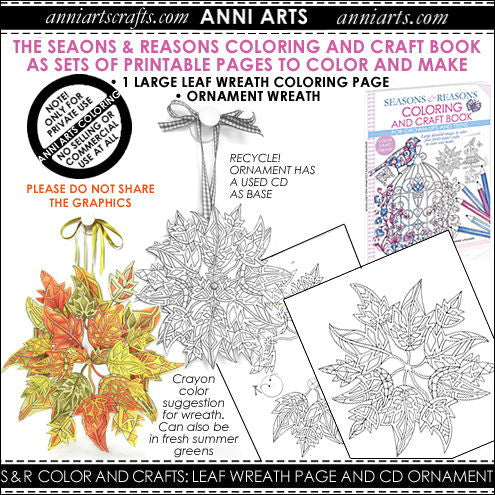 Colour & Make: Leaf Wreath and Ornament Colouring - The Printable Craft Shop
