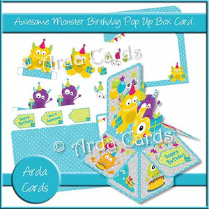 Awesome Monster Birthday Pop Up Box Card