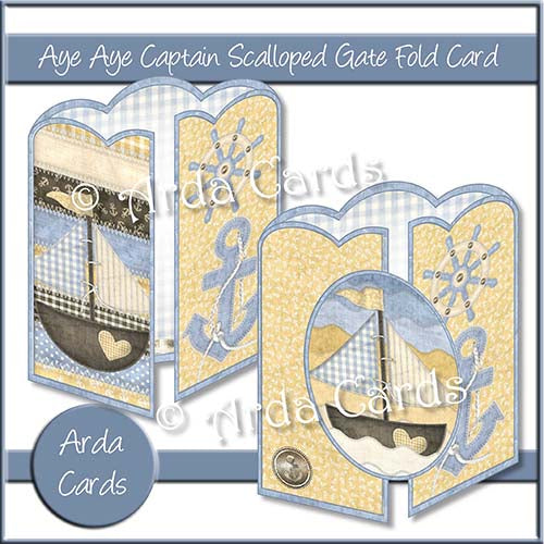 Aye Aye Captain Scalloped Gatefold Card Making Kit - The Printable Craft Shop