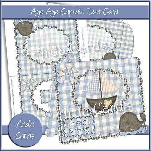 Aye Aye Captain Tent Card - The Printable Craft Shop