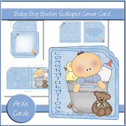 Baby Boy Bucket Scalloped Corner Card - The Printable Craft Shop