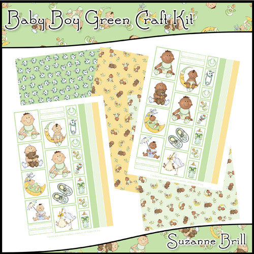 Baby Boy Green Craft Kit - The Printable Craft Shop