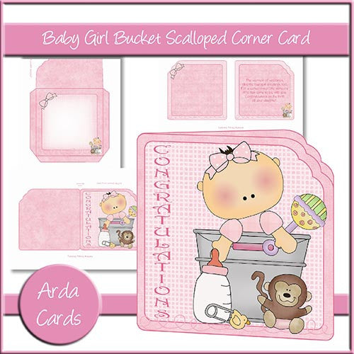 Baby Girl Bucket Scalloped Corner Card - The Printable Craft Shop