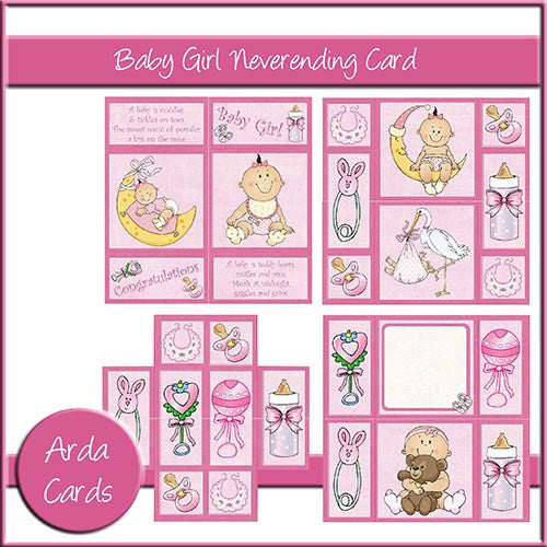 Baby Girl Neverending Card - The Printable Craft Shop